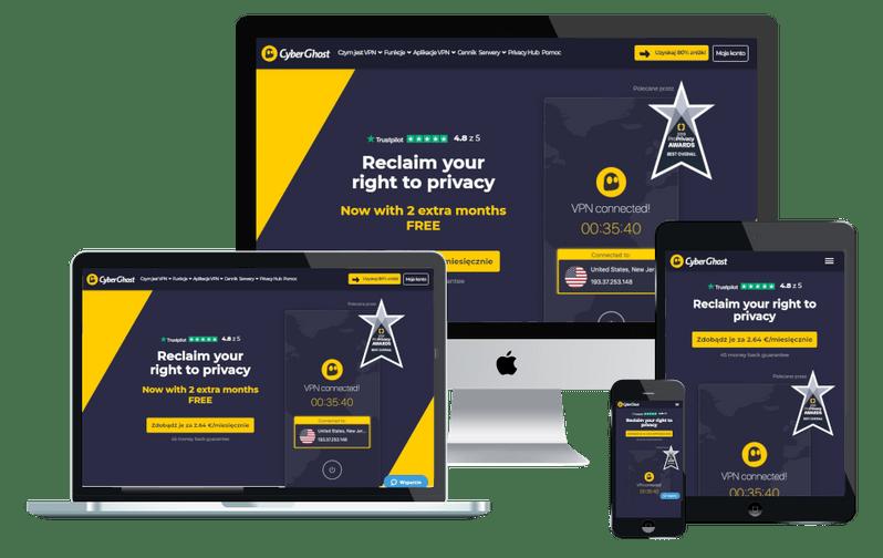 Program VPN CyberGhost na urządzeniach