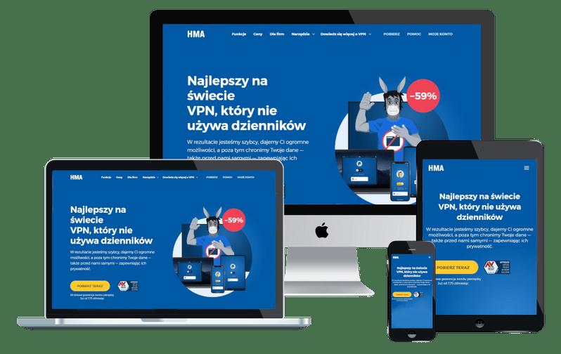 Program VPN HMA na urządzeniach