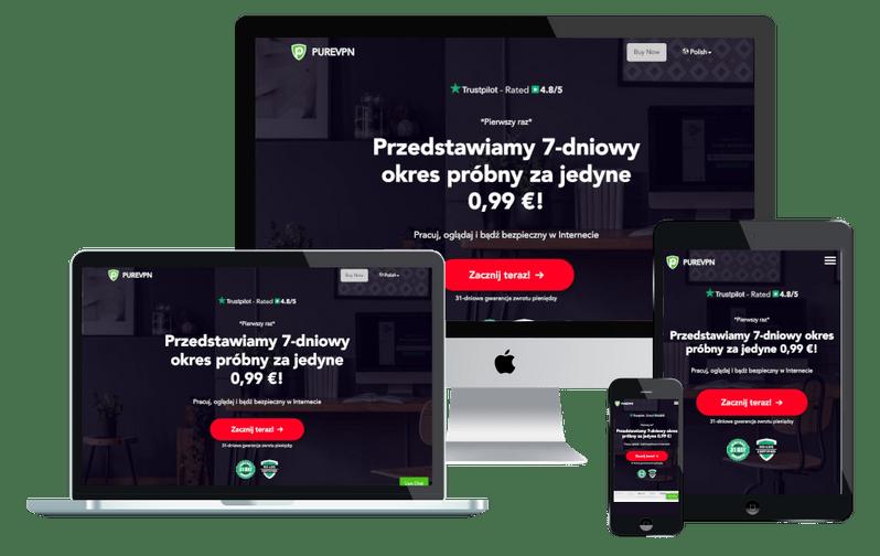 Program VPN PureVPN na urządzeniach